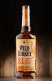 Bottle of Wild Turkey Kentucky straight bourbon whiskey Stock Photo