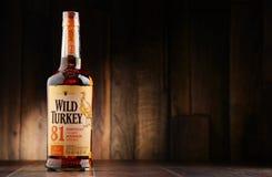 Bottle of Wild Turkey Kentucky straight bourbon whiskey Royalty Free Stock Photo