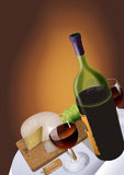Bottle of Wine. Cheese, Cork, Glass and grapes Royalty Free Stock Photography