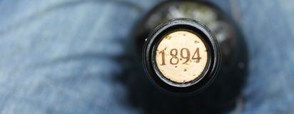 A bottle of wine. With old cork Royalty Free Stock Photos