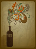 Bottle of wine. Retro concept composition with stylized bottle of wine on grungy crumpled paper texture Stock Photo