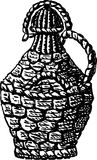 Bottle of wine. Vector drawing of the braided large bottle for wine stock illustration