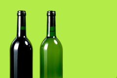 Bottle of wine. On green background Royalty Free Stock Image