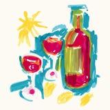 Bottle of wine vector illustration