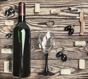Bottle of wine and accessories Royalty Free Stock Photography