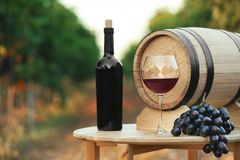 Bottle of wine, barrel and glass on wooden table. In vineyard royalty free stock photo
