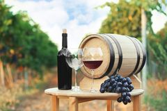 Bottle of wine, barrel and glasses on wooden table. In vineyard royalty free stock image