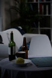 Bottle of wine and beer Royalty Free Stock Images