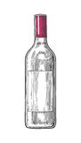 Bottle wine. Black vintage engraved  illustration isolated on white background. For label, poster, web. Stock Photos