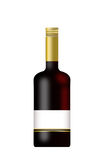 Bottle of Wine with a blank label isolated. On a white background Royalty Free Stock Image