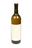 Bottle of Wine with Blank Label on White Stock Photo