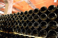 A bottle of wine in the cellar of the winery Santa Rita. Stock Photo