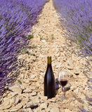 Bottle of wine composition. Red wine bottle and wine glass on the ground. Bottle of wine against lavender landscape. Lavender field in Provence, France Royalty Free Stock Image