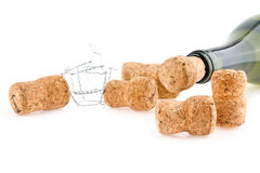 Bottle of wine and cork Royalty Free Stock Photos