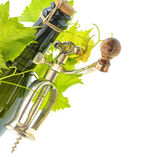 Bottle of wine with corkscrew and vine leaves Royalty Free Stock Photography