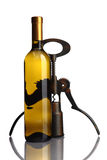 Bottle of wine with corkscrew on white Royalty Free Stock Photos