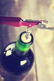 Bottle of wine with corkscrew on wood Royalty Free Stock Images