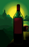 Bottle of wine in countryside. Illustration of bottle of red with with glass; green countryside vineyard in background Stock Images