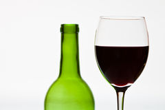 Bottle wine and glass Stock Images