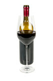 Bottle of wine and a glass. On a white background Royalty Free Stock Photos