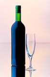 Bottle and wine glass Royalty Free Stock Photos