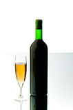 Bottle and wine glass Stock Photos