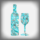 A bottle of wine with a glass abstract figure Royalty Free Stock Photo