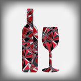 A bottle of wine with a glass abstract figure Stock Photo