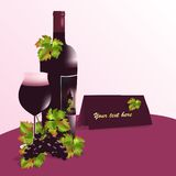 Bottle of wine and glass, cdr vector. Bottle of red wine, glass and red grapes with rusty leaves, isolated, vector format Royalty Free Stock Images