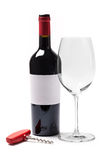 Bottle Wine With Glass And Corkscrew Stock Images