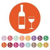 The bottle wine and a glass of drink icon. Royalty Free Stock Photos