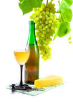 Bottle of wine, glass and grapes Stock Photography