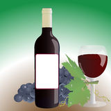 Bottle wine glass grapes Royalty Free Stock Photos