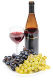 Bottle of wine, glass and grapes - still life Royalty Free Stock Photo