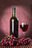 Bottle and wine glass Royalty Free Stock Images