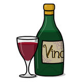 Bottle of wine and a glass of red wine illustration. Red wine bottle Stock Images