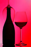 Bottle & wine glass silhouettes Stock Photo