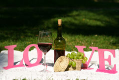 Bottle of wine and glass stand on the tablecloth Royalty Free Stock Photos