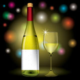 Bottle and wine glass vector Stock Photography