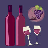 Bottle of wine with a glass. Vector illustration of wine bottle with a glass Royalty Free Illustration
