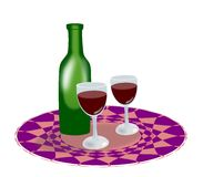 Bottle of wine and glasses. Stock Photography