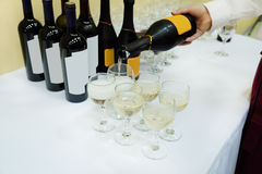 Bottle and wine glasses Royalty Free Stock Images