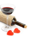 Bottle of wine and glasses Stock Photo