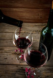 Bottle of wine and glasses Royalty Free Stock Photos