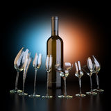 Bottle Of Wine With Glassfuls On Artistic Background Royalty Free Stock Images