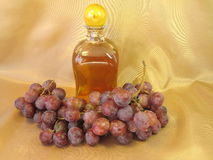 Bottle of wine and grape royalty free stock photo