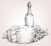 Bottle wine, grape, cheese. Old bottle wine, cheese, grape, leafe and vine Stock Images