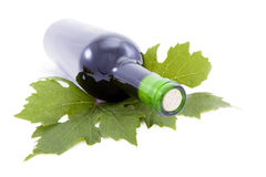 Bottle of wine and grape leaves. Stock Photos