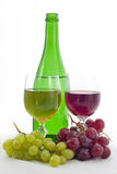 Bottle of wine and grapes Royalty Free Stock Photo