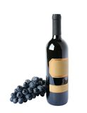 Bottle of wine and grapes cluster Stock Photography